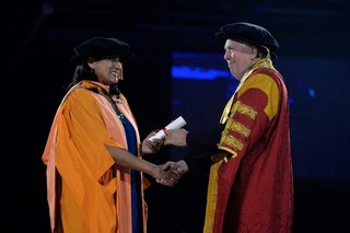 Jasvinder Sanghera receiving an Honorary Doctorate of Law from De Montford University, Leicester